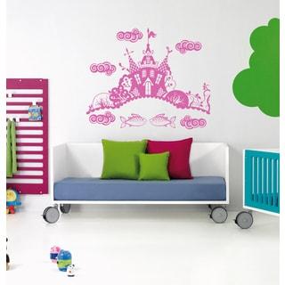 Fairy tale princess mirror Castle coach Wall Art Sticker Decal Pink