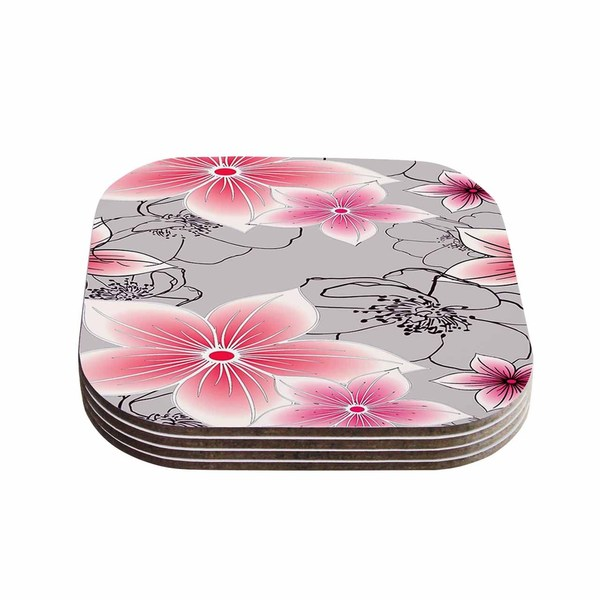 Kess InHouse Alison Coxon 'Grey And Pink Floral' Grey Pink Coasters (Set of 4)
