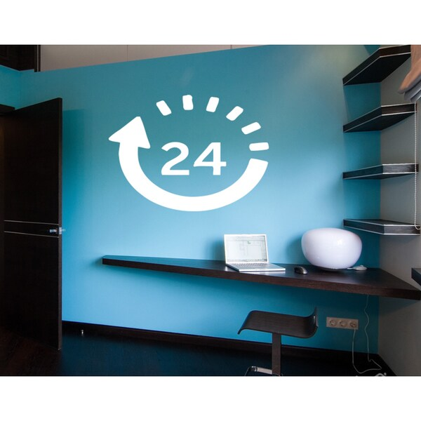 24 hours Wall Art Sticker Decal White