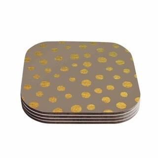 Kess InHouse Nika Martinez 'Earth Golden Dots' Brown Yellow Coasters (Set of 4)
