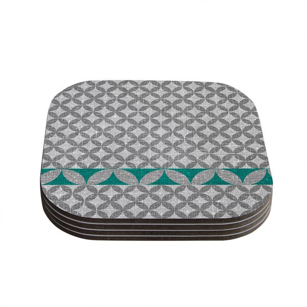 Kess InHouse Nick Atkinson 'Diamond Turquoise' Coasters (Set of 4)