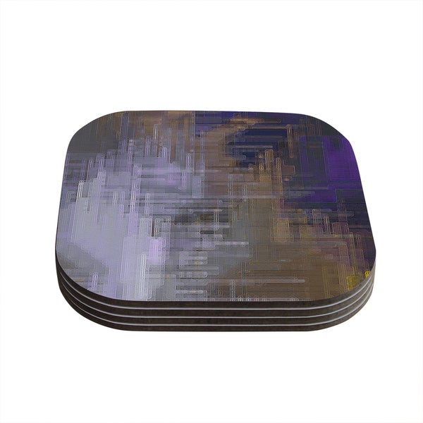 Kess InHouse Michael Sussna 'Reach for the Sky' Purple Brown Coasters (Set of 4)