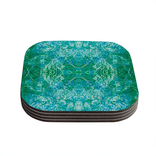 Kess InHouse Nikposium 'Eden' Teal Green Coasters (Set of 4)
