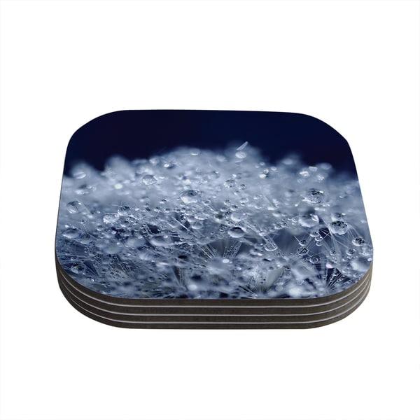 Kess InHouse Monika Strigel 'Dandelion Diamonds' Navy Blue Coasters (Set of 4)