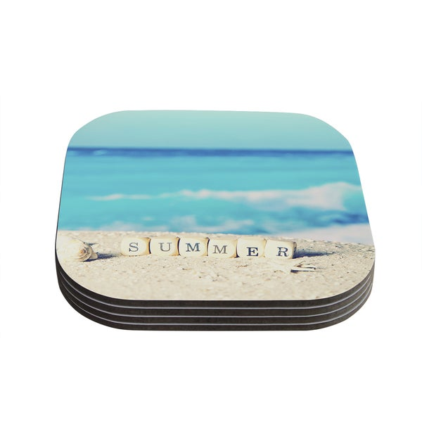 Kess InHouse Monika Strigel 'Summer at the Beach' Blue Coastal Coasters (Set of 4)