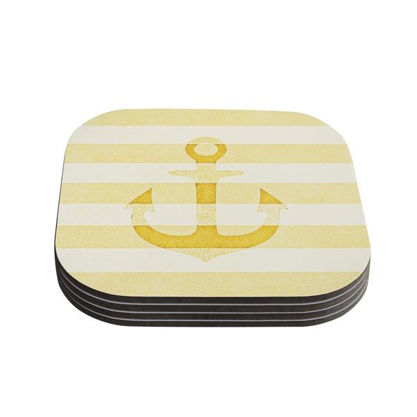 Kess InHouse Monika Strigel 'Stone Vintage Anchor Yellow' Mustard White Coasters (Set of 4)