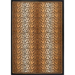 Home Dynamix Zone Collection Transitional Gold/Black Machine-Made Polypropylene Area Rug (21X35)