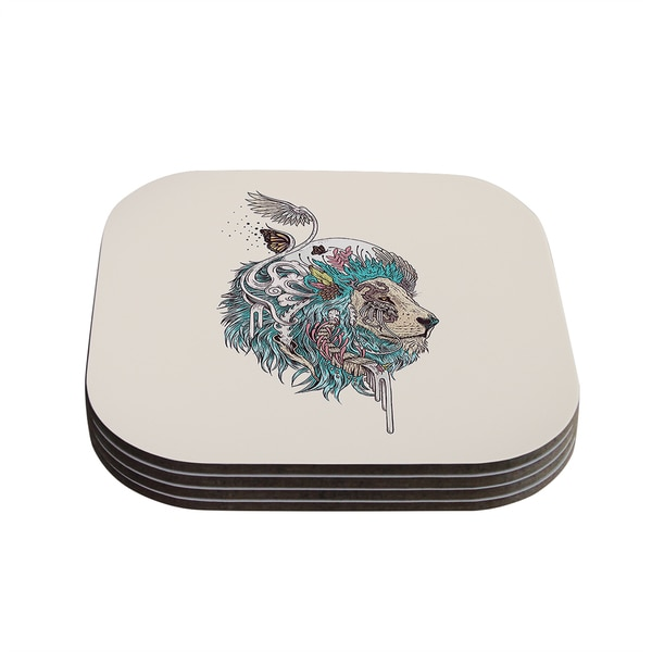 Kess InHouse Mat Miller 'Unbound Autonomy' Abstract Lion Coasters (Set of 4)