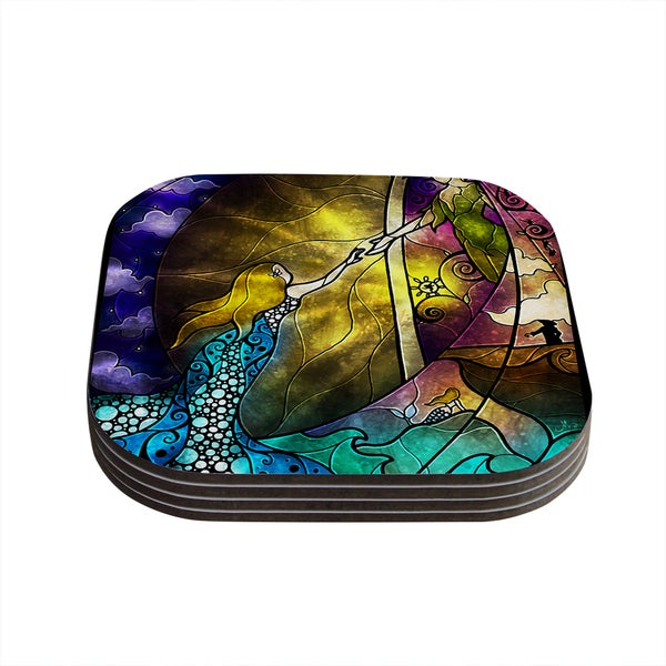 Kess InHouse Mandie Manzano 'Fairy Tale off to Neverland' Coasters (Set of 4)