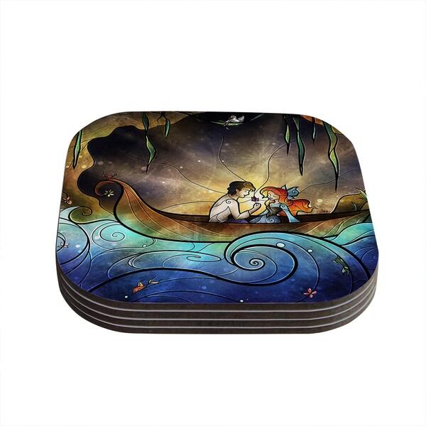 Kess InHouse Mandie Manzano 'Something About Her' Mermaid Coasters (Set of 4)