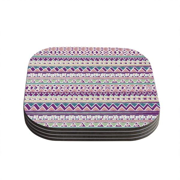 Kess InHouse Nika Martinez 'Boho Ibiza' Pastel Pink Coasters (Set of 4)