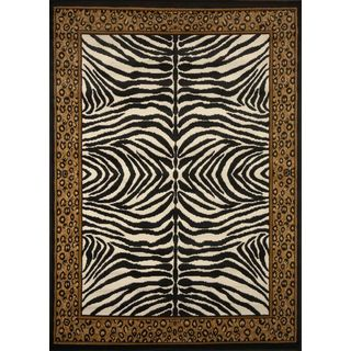 Home Dynamix Black Zone Collection Transitional Machine Made Polypropylene Area Rug (1'9 x 7'2)