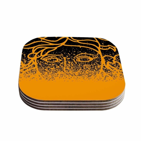 Kess InHouse Just L 'Versus Spray Blk Gld' Abstract Illustration Coasters (Set of 4)