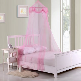 Buttons and Bows Kids Collapsible Hoop Pink Sheer Bed Canopy