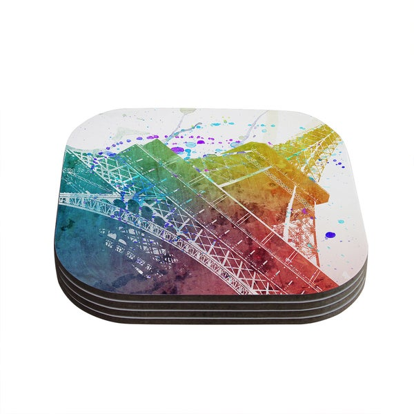 Kess InHouse Nika Martinez 'Paris Je T'aime' Watercolor Coasters (Set of 4)