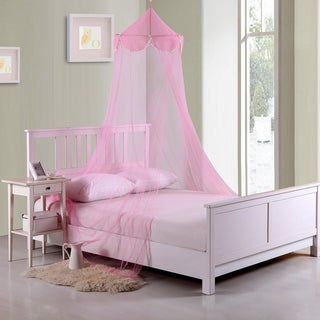 Sheer Pom Pom Collapsible Hoop Kids Bed Canopy