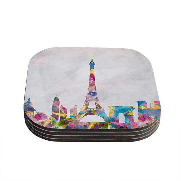 Kess InHouse Mareike Boehmer 'Paris' City Rainbow Coasters (Set of 4)