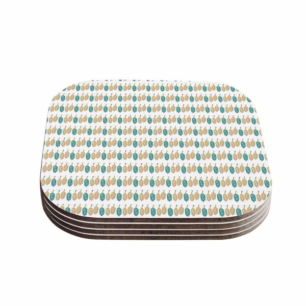 Kess InHouse Petit Grffin 'Colour Dream' Green Abstract Coasters (Set of 4)