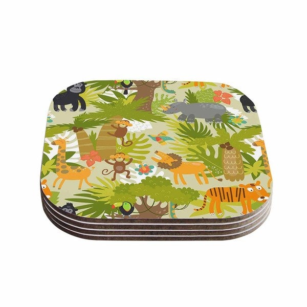 Kess InHouse Petit Griffin 'Roar Of The Jungle' Green Animals Coasters (Set of 4)