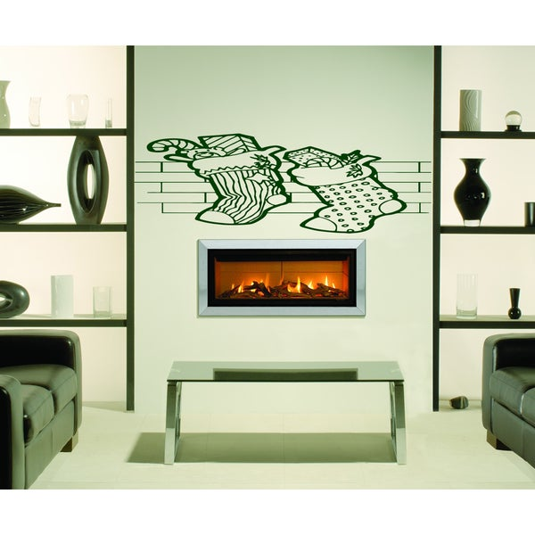 Christmas socks by the fireplace Wall Art Sticker Decal Red