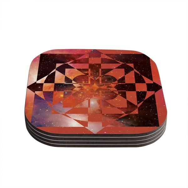 Kess InHouse Matt Eklund 'Galactic Hope Bittersweet' Red Orange Coasters (Set of 4)