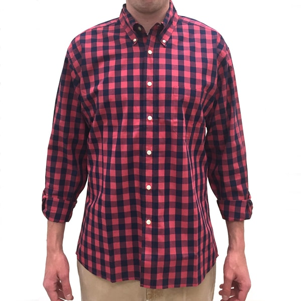 Bills Khakis Standard Issue Men's Navy and Red Check Plaid Long-sleeve Button-down Shirt