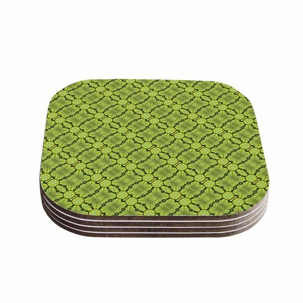 Kess InHouse Laura Nicholson 'Leafy Lozenges' Green Abstract Coasters (Set of 4)