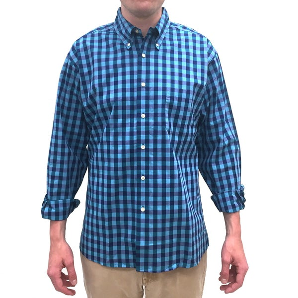 Bills Khakis Men's Standard Issue Turquoise Check Plaid Long-sleeved Button-down Shirt
