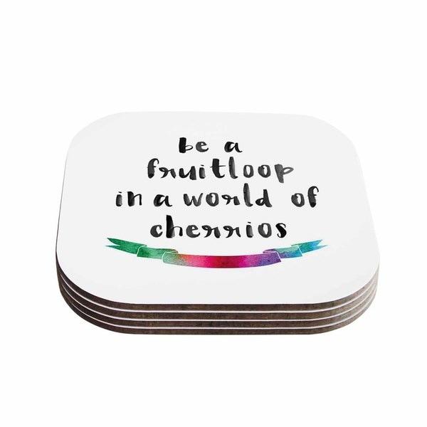 Kess InHouse KESS Original 'Be A Fruitloop' Watercolor Typography Coasters (Set of 4)