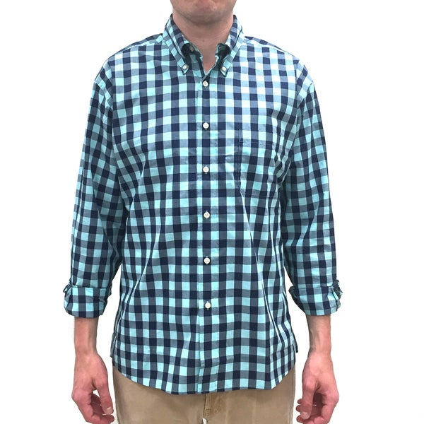Bills Khakis Men's Standard Issue Turquoise and Navy Check Plaid Long-sleeve Button-down Shirt