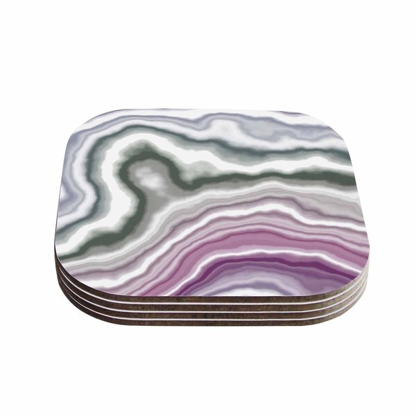 Kess InHouse KESS Original 'Wild Boysenberry' Geological Purple Coasters (Set of 4)