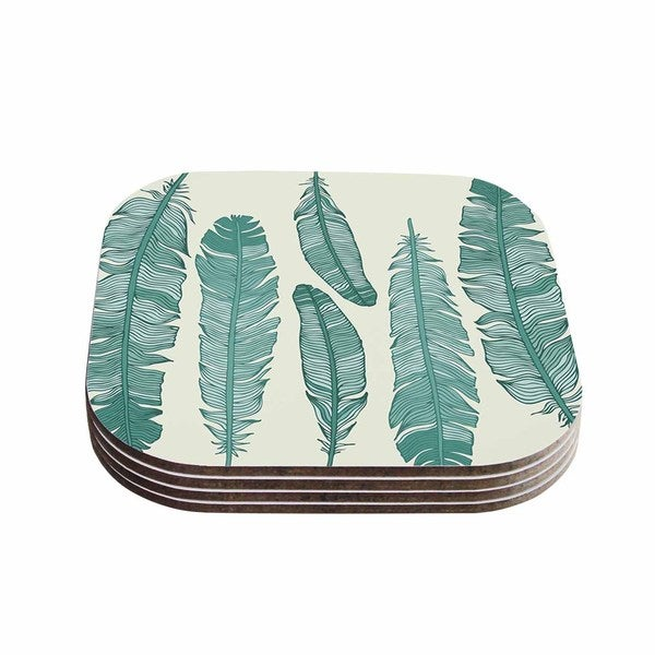 Kess InHouse KESS Original 'Balsam Feathers' Beige Green Coasters (Set of 4)