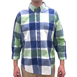 Reed Edward Men's Green Large Plaid Cotton Button-down Shirt