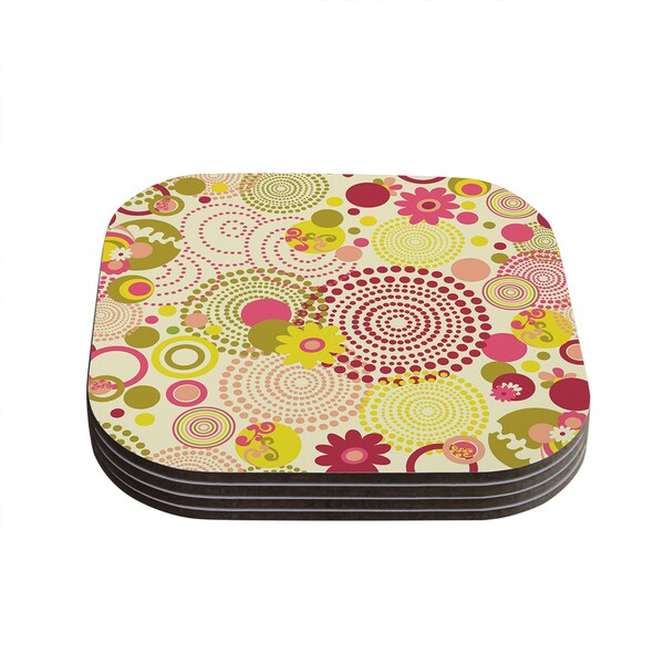 Kess InHouse KESS InHouse Louise Machado Poa Compressed Wood 4-inch x 4-inch Coasters