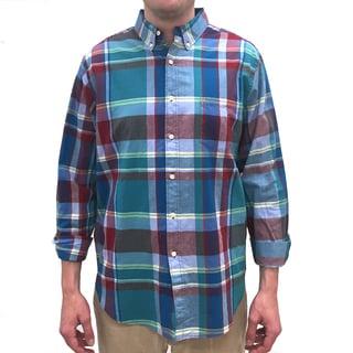 Reed Edward Men's Blue Plaid Cotton Button-down Shirt
