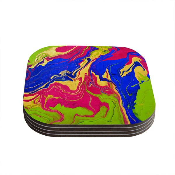 Kess InHouse Claire Day 'Escaping Reality' Green/Pink/Multi Compressed Wood Coasters (Pack of 4)