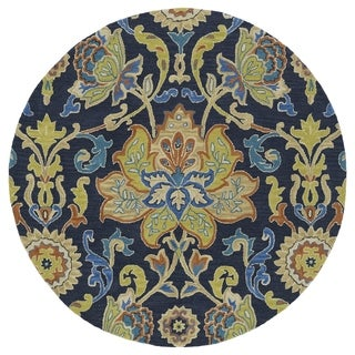 Anabelle Navy Blue Floral Hand-Tufted Wool Rug (7'9 x 7'9 Round)