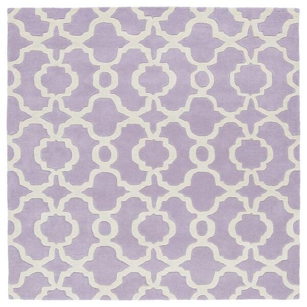 Cosmopolitan Trellis Lilac/Ivory Hand-Tufted Wool Rug (11'9 x 11'9 Square)