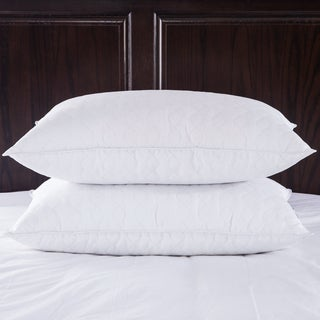 Puredown Quilted White Goose Feather and Down Pillow