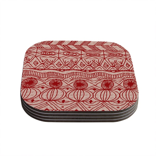 Kess InHouse Catherine Holcombe 'Cranberry and Cream' Pattern Coasters (Set of 4)