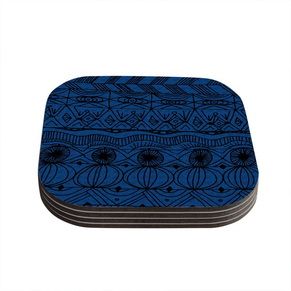 Kess InHouse Catherine Holcombe 'Black and Blue' Pattern Coasters (Set of 4)