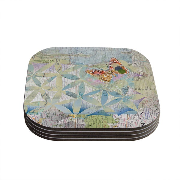 Kess InHouse Catherine Holcombe 'Miraculous Recovery' Butterfly Coasters (Set of 4)