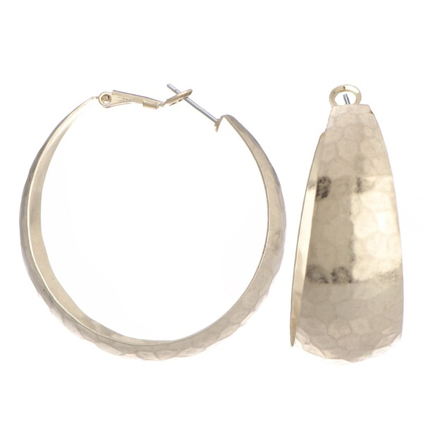 Gold Color Hammered Hoop Earrings