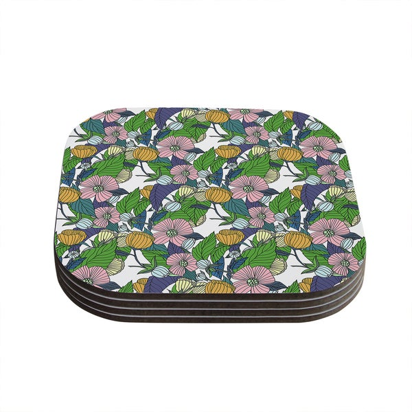 Kess InHouse Catherine Holcombe 'Spring Foliage' Floral Pastels Coasters (Set of 4)