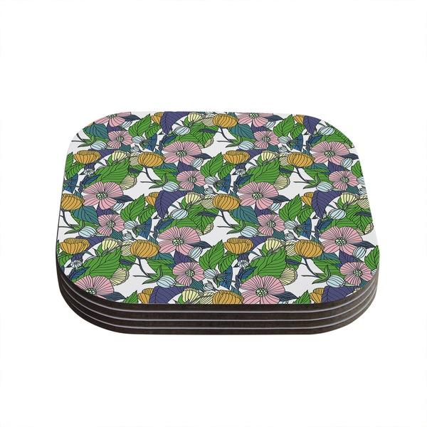 Kess InHouse Catherine Holcombe 'Spring Foliage' Floral Pastels Coasters (Set of 4)