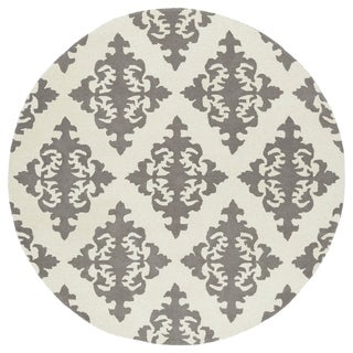 Runway Light Brown/Ivory Damask Hand-Tufted Wool Rug (5'9 Round)