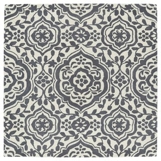 Runway Charcoal/Ivory Damask Hand-Tufted Wool Rug (9'9 x 9'9 Square)