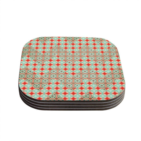 Kess InHouse Catherine McDonald 'Traveling Caravan' Red Pattern Coasters (Set of 4)