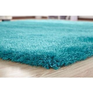 HandmadeTurquoise Shag Area Rug (4' x 5'4)