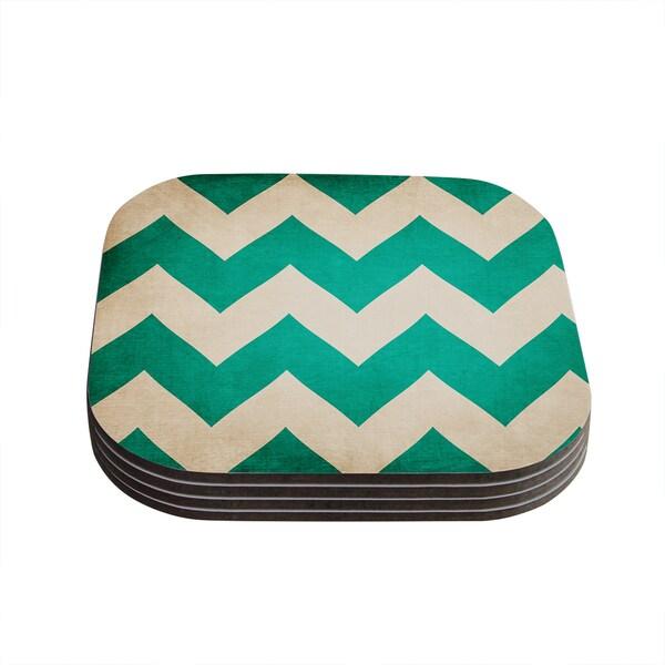 Kess InHouse Catherine McDonald '2013' Teal Chevron Coasters (Set of 4)